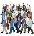 Big crowd of men moving to the common direction vector image