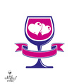 Wine glass with two loves hearts vector image