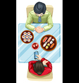 A topview of two people eating sushi vector image