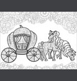 carriage pumpkin and horses transport for the vector image