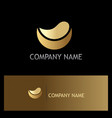 half round abstract gold logo vector image