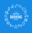 hotel booking round design template line icon vector image