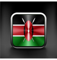 Kenya Flag square glossy button national white vector image