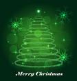 shining christmas tree winter background vector image