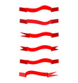 Flat ribbon red set vector image