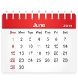 Stylish calendar page for June 2014 vector image vector image
