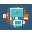 Flat design of modern creative designer workspace vector image