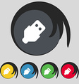 USB icon sign Symbol on five colored buttons vector image vector image