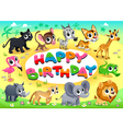 Happy Birthday card with Jungle animals vector image