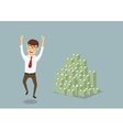 Businessman with huge pile of dollar packs vector image