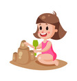 cute little girl playing with sand on a beach vector image
