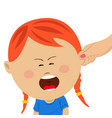 mothers hand pulling the ear of crying daughter vector image