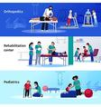 Physiotherapy Rehabilitation 3 Flat Horizontal vector image
