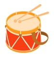 Toy drum icon cartoon style vector image