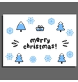 Merry christmas greeting card with cute doodle vector image