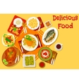 World cuisine popular lunch dishes icon vector image