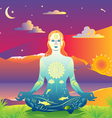 sunset meditation vector image