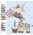Cute Giraffe with cake vector image