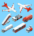 airplanes set and other support machines in vector image