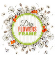 floristic background with dry flowers frame vector image
