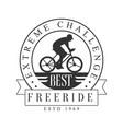 freeride extreme challenge vintage label black vector image
