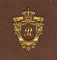 Golden royal coat of arms embossing on a leather vector image