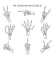 linear skeleton hands gestures vector image