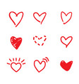 red heart doodles vector image