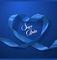 Save the Date Blue Ribbon Heart vector image