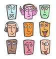 Sketch emoticons colored set vector image
