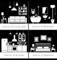 interior silhouettes of flat rooms vector image