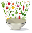 vegetables falling bowl mix food image vector image