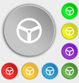 Steering wheel icon sign Symbols on eight flat vector image