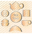 Set of tea time Effect of the shadow vector image
