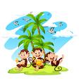 Three monkeys eating bananas vector image vector image