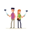 Boy and girl make selfie photos on a smartphone vector image