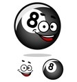 Cartooned eight pool ball with happy face vector image