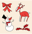 christmas set holly berries snowman bow deer vector image