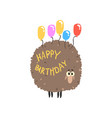 cute cartoon sheep with colorful balloons happy vector image