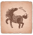 Horse Chinese Zodiac Sign Horoscope Vintage Card vector image
