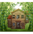 old wooden house in bamboo forest vector image