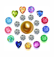 Round composition colored gems set vector image