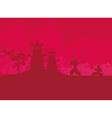 Samurai silhouette in Asian Landscape vector image