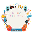 Music Instruments Objects Frame Background vector image vector image