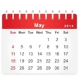 Stylish calendar page for May 2014 vector image vector image