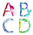 paint splash font ABCD vector image vector image