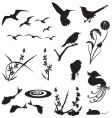 Animal and floral silhouettes vector image