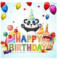 Birthday background with happy panda vector image