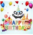 Birthday background with happy panda vector image