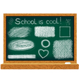 Blackboard with line drawings vector image